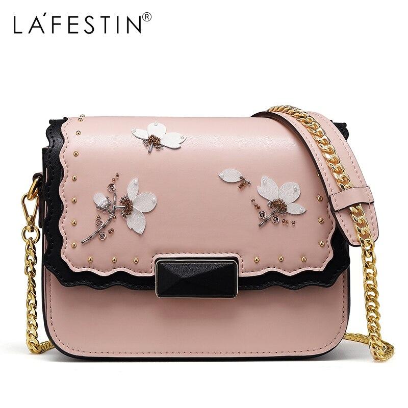 LAFESTIN Brand Chain Shoulder Bag for Women Handbag Floral Female Metal Chain Strap Crossbody Bags Women Bolsa Feminina