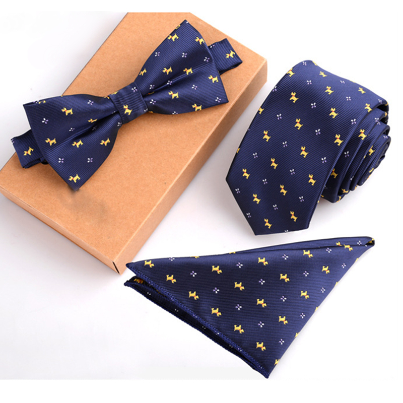 b86206ea23e1 2016 noeud papillon men ensemble navy blue tie yellow dog bow tie and  handkerchief set lot-in Men's Ties & Handkerchiefs from Apparel Accessories  on ...
