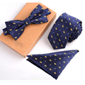 2016 noeud papillon men ensemble navy blue tie yellow dog bow tie and handkerchief set lot