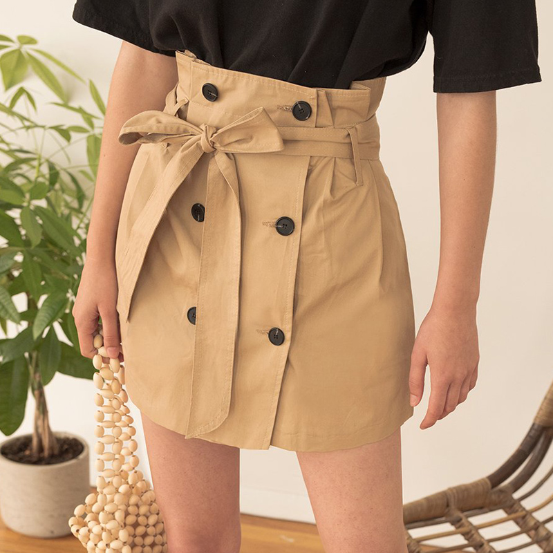 line De Slim Casual Corta Harajuku Streewear Cintura Nueva Lápiz 2019 Kaqi Falda Alta Sólido Verano Mujer qHptAO