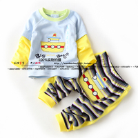 new 2014 spring autumn baby clothing set child pullover t shirts + kids pants sets baby boy 100% cotton thin Cartoon striped set
