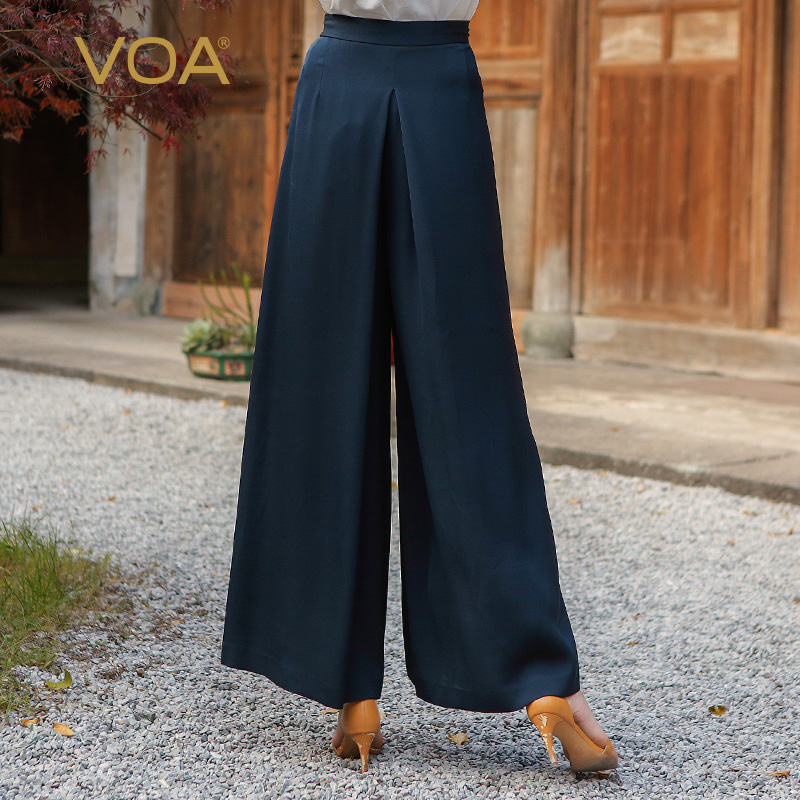VOA 2017 automne bleu soie solide taille haute jambe large pantalon - Vêtements pour femmes - Photo 2