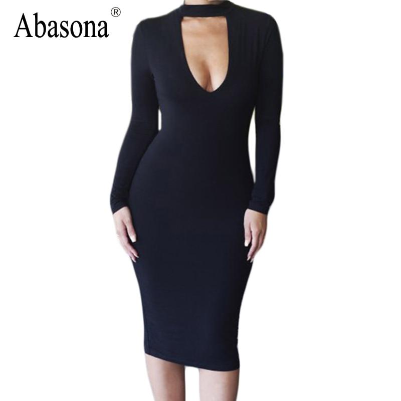 Plus Size Women Clothing Black Long Sleeve Bodycon Dress ...