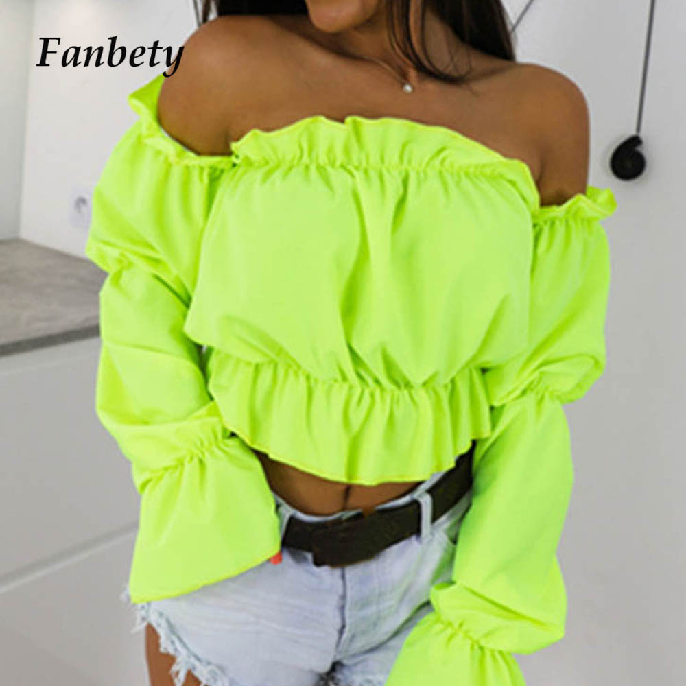 Fanbty 2019 Candy Color Off Shoulder Crop Tops women Summer dot print lantern sleeve shirts Lady Sexy Slash neck beach blouse(China)