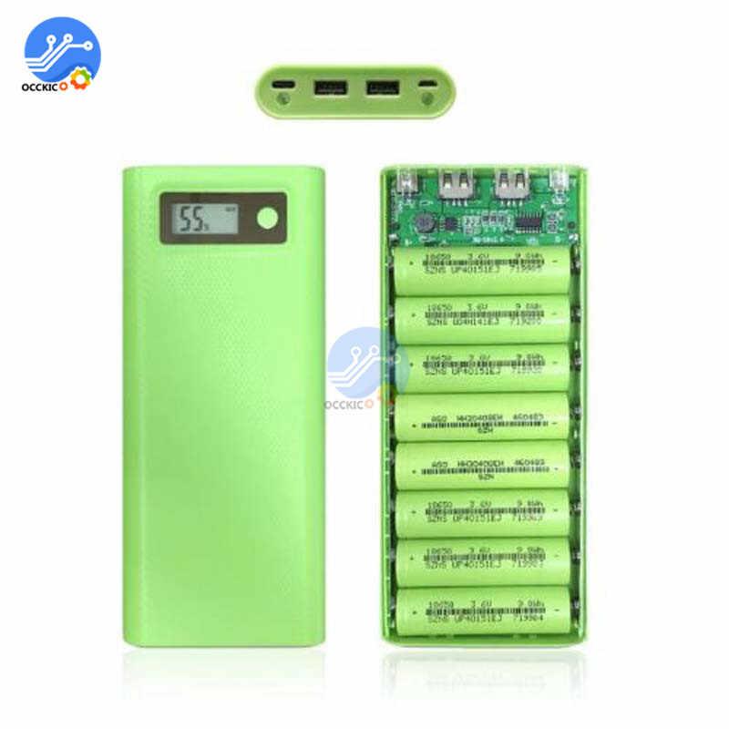 8x18650 סוללה תיבת מטען כוח בנק מחזיק מקרה כפולה USB LCD תצוגה דיגיטלית 8*18650 סוללה פגז אחסון לארגן DIY