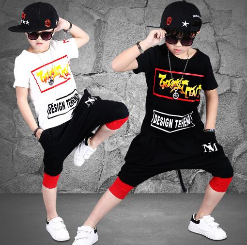Boys Summer Clothing sets Hip Hop Dance Costume Kids Sports Suit Boys Clothes Childrer T-shirt Harem Pants Outfits kids clothes sets wholesale spring and autumn boys sports leisure suit t shirt hoodie long pants free shipping in stock