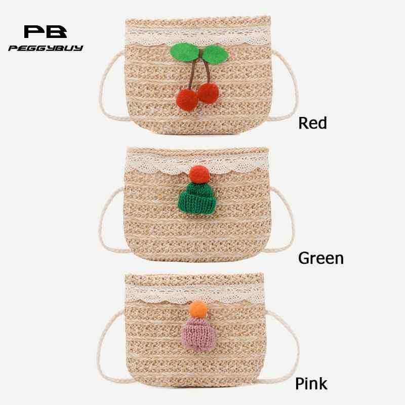 Palha Decoração Crossbody Pequenas Bolsas de Ombro Meninas Bonito Top-handle Bags