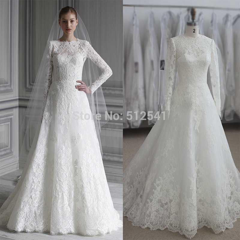 Actual Images Long Sleeves Wedding Dresses Lace A Line Sweetheart Applique Sweep Train Bridal Gown yk1A337