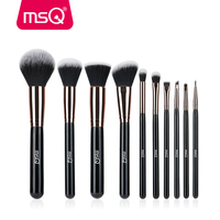 MSQ 10pcs Rose Gold Balck Professional Makeup Brush Set Powder Foundation Concealer Cheek Shader Make Up