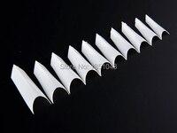 500 Stücke Französisch Stil ABS Weiß Falsche Nagel-kunst-spitzen Bilden Dekorationen ultradünne weiße UV Gel Maniküre werkzeug
