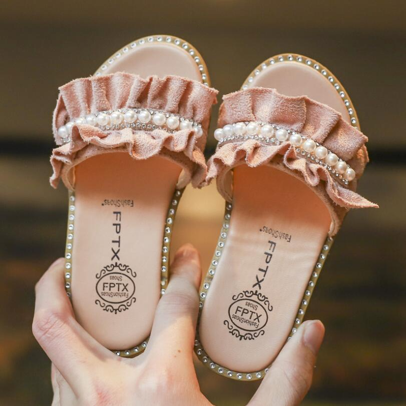 KIDS Summer New Girls Sandals Shoes Fashion Pearl Children Sandals For Girls Rivet Princess Slippers ShoesKIDS Summer New Girls Sandals Shoes Fashion Pearl Children Sandals For Girls Rivet Princess Slippers Shoes