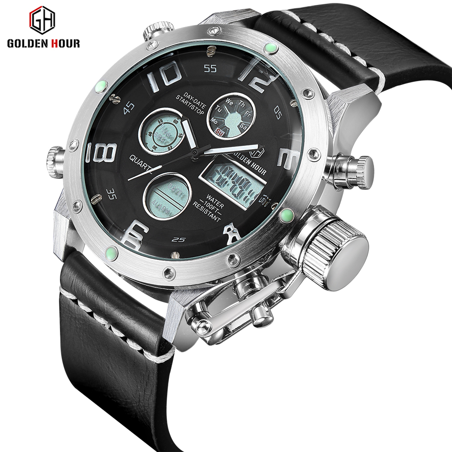 Luxury Brand Waterproof Leather Quartz Analog Watch Men Digital LED Army Military Sport Wristwatch Male Clock