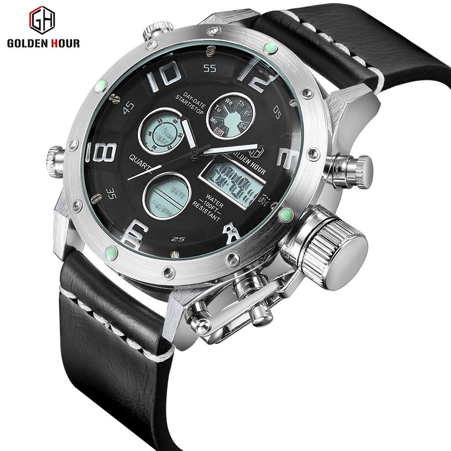 Prix pour Marque de luxe En Cuir Imperméable Quartz Montre Analogique Hommes Numérique LED Armée Militaire Sport Montre-Bracelet Homme Horloge relogio masculino