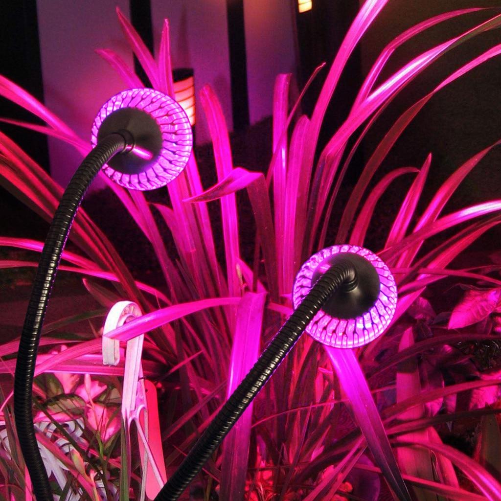 LED Grow Light Full Spectrum 10W Dual Head 360 Degree Flexible Lamp Holder Clip AC85-265V For Indoor Desktop Plant Growin