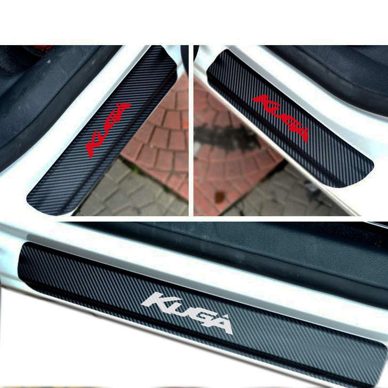 4 pçs de fibra carbono vinil adesivo porta do carro peitoril scuff placa para ford kuga peças acessórios