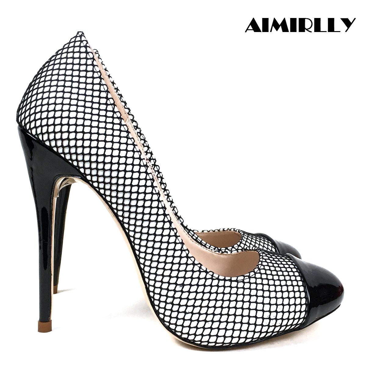 Aimirrly Women Shoes High Heels Pumps Round Toe Formal Evening Party Wedding Dress Shoes Black Mesh