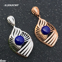 KJJEAXCMY boutique jewelry,925 sterling silver inlaid natural lapis lazuli necklace pendant to send chain