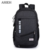Men's fashion backpack teenager school bag Business laptop bag Large capacity waterproof trave l bag With USB charging socket