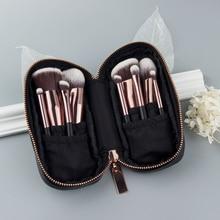 Anmor 9PCS Mini Soft Makeup Brushes Set & Kits Portable Brushes For Makeup With Black & Sliver Traveling Cosmetic Bag