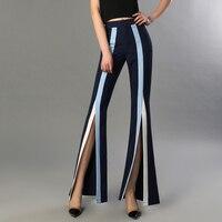 Pantalón cintura alta split color