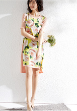 PIXY Camellia Floral Print Silk Dress Short Sleeve Midi Ice Knit Dresses Casual Yellow sukienki Loose Black za ropa mujer