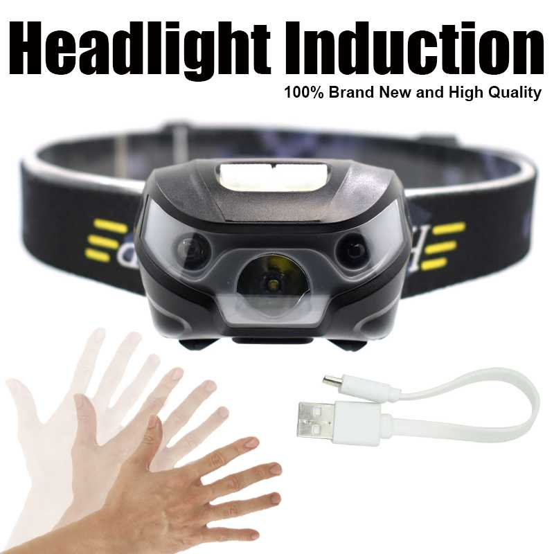 Rechargeable Headlamp Flashlight Inductive Q5 LED Head Torch Super Bright Mini Frontal Head Lamp Light with Battery + USB Cable r3 2led super bright mini headlamp headlight flashlight torch lamp 4 models