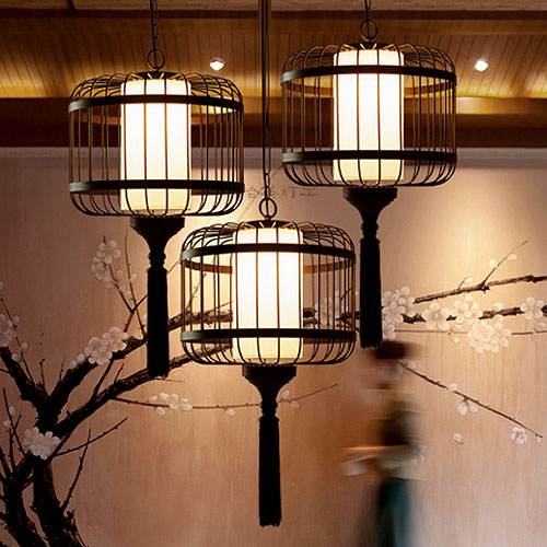 Chinese southeast asia hotel dining room retro wrought iron birdcage pendant light cages creative engineering ya73115|pendant light cage|light cage|dining room - title=