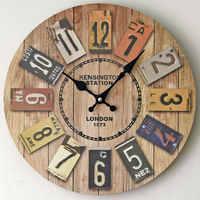 新しい壁時計ヴィンテージduvar saatiヨーロッパスタイルラウンド木材壁時計ホーム壁掛け装飾飾り壁時計クラフト