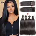 10A Grade Brazilian Straight Virgin Hair Bundle Deals Lace Closure With 4 Bundles Brazilian Straight Hair With Closure Cexxy