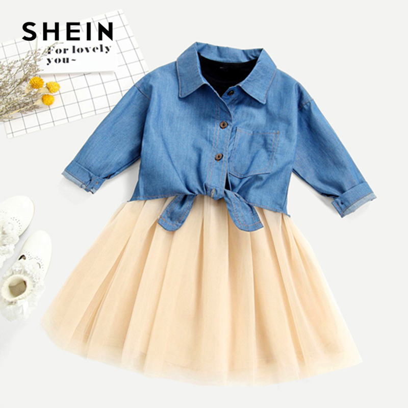 SHEIN Kiddie Toddler Girls Knot Hem Denim Knot Shirt And Tank Tee With Mesh Skirt Sets Kids 2019 Summer Long Sleeve Clothes Sets black boat neck long sleeves slit hem jumper