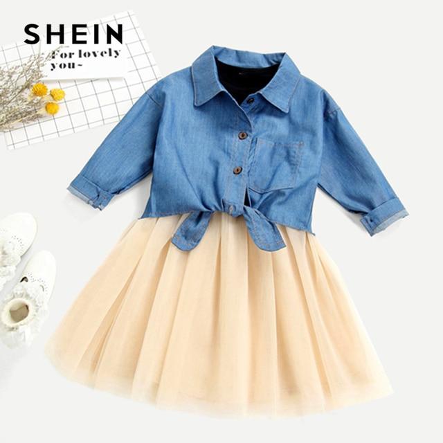 SHEIN Kiddie/комплект из джинсовой футболки с бантом и сетчатой юбки для маленьких девочек 2019 г. летние комплекты одежды с длинными рукавами для детей