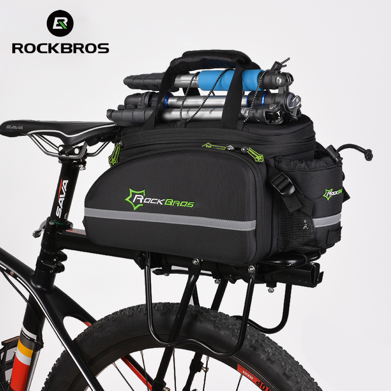 ROCKBROS Waterproof Bike Bag 12L Bicycle Trunk Bag Seat Bag 2018 MTB Road Cycling Rack Bag Backpack With Rain Cover Accessories rockbros 12l outdoor bicycle bag 3 in 1 cycling rear rack trunk travel bag pannier rain cover bike bag accessories 3 colors