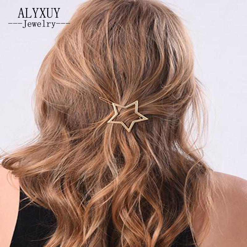 just do my best New fashion hairwear simple golden star hairpin gift for women girl H409