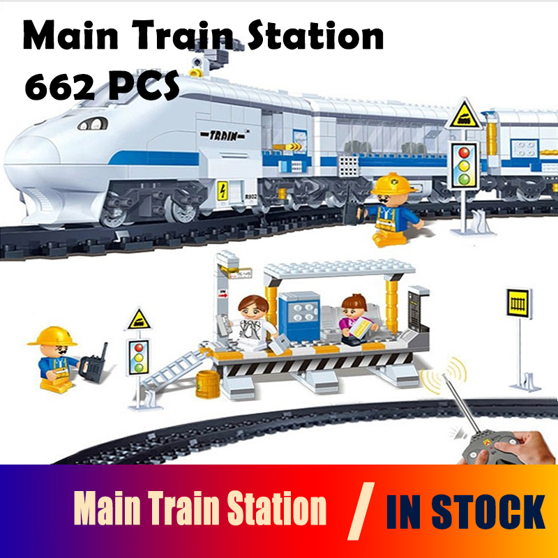 Model building block set compatible with lego city Main Train Station 3D Construction Brick Educational Hobbies Toys for Kids ausini building block set compatible with lego transportation train 003 3d construction brick educational hobbies toys for kids