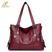 Prettyzys 2017 Luxry Brand Women Leather Handbags Lady Large Tote Female Shoulder Bags Vintage Stitching Crossbody Patchwork Sac