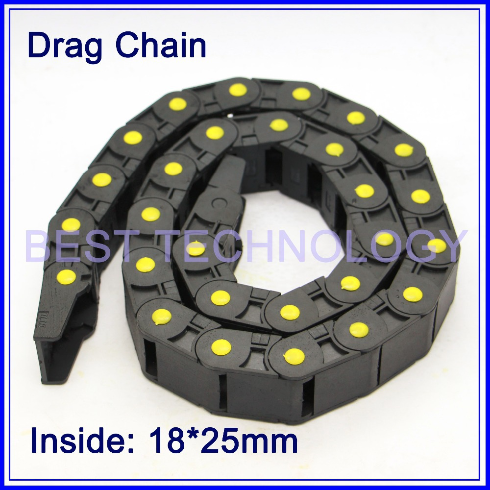 Series 18 x 25mm 37mm 50mm length L1000mm Plastic Cable Drag Chain Wire Carrier with end connectors plastic towline Semi Closed 18 x 50mm 1m semi enclosed type drag chain wire carrier black