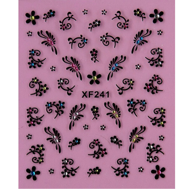 black 3D flower design Water Transfer Nails Art Sticker decals lady women manicure tools Nail Wraps Decals XF241 ds300 2016 new water transfer stickers for nails beauty harajuku blue totem decoration nail wraps sticker fingernails decals