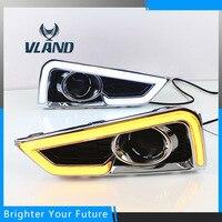 2Pcs Turn Yellow Signal Style Relay Waterproof ABS LED Daytime Day Fog Light DRL Run Lamp