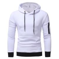 Tops 2017 Autumn Men S Plaid Dobby Color Hoodies Casual Pullovers Sweatshirt Sleeved Zippers Hoody Sweatshirts