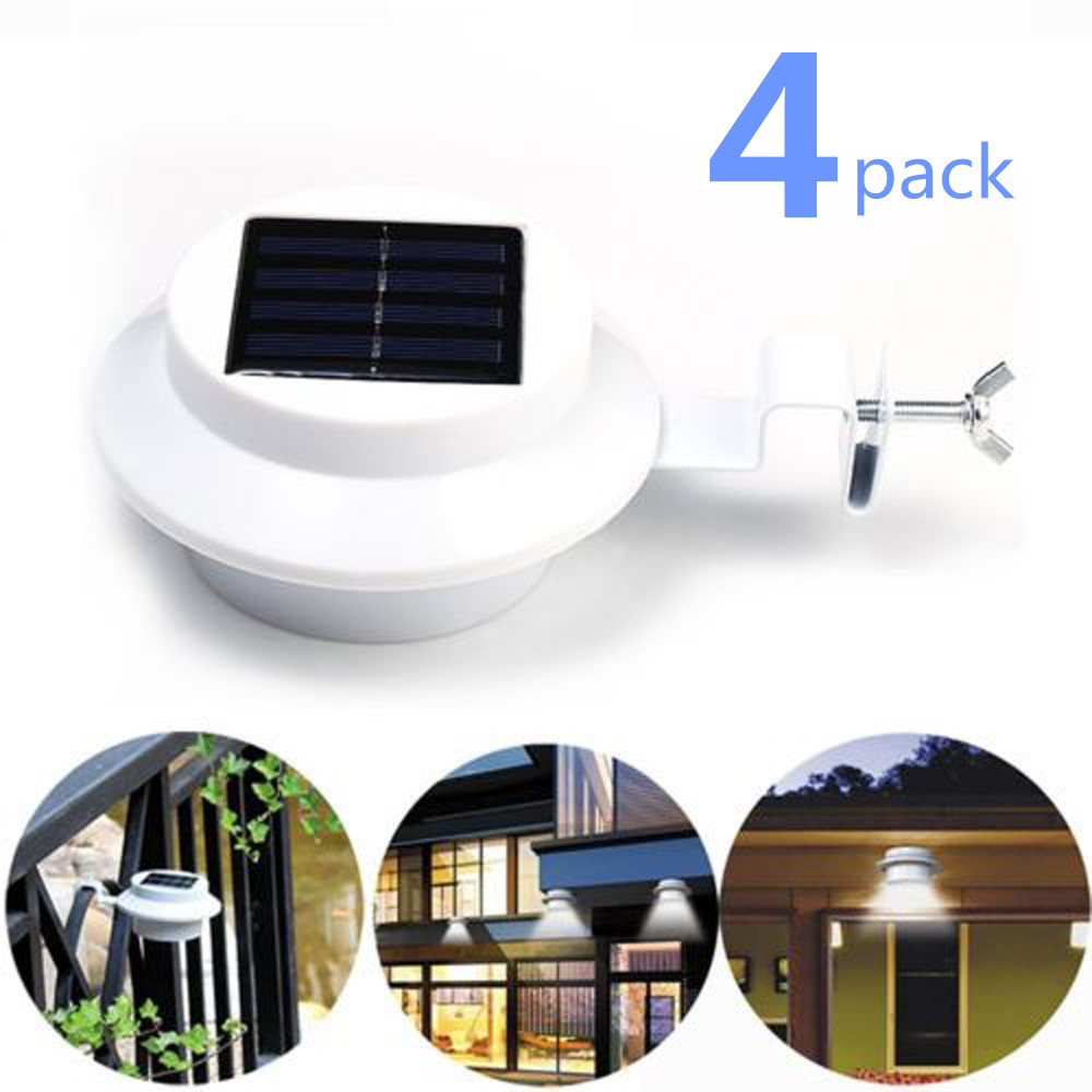 4pcs Solar Wall Light 4 LED Solar Powered Gutter Light Outdoor Home Garden Yard Wall Fence Pathway Lamp Night Light