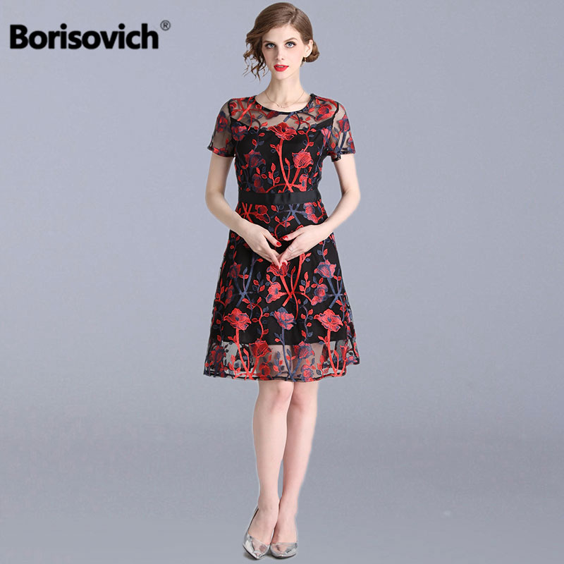 Borisovich Luxury Embroidery Women Casual Dress New 2019 Spring Fashion Knee length Elegant A line Ladies