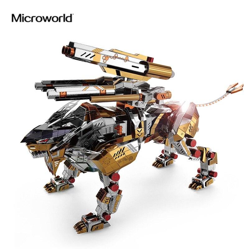 Oyuncaklar ve Hobi Ürünleri'ten Modeli Yapı Setleri'de Microworld 3D metal bulmaca Kükreyen Aslan Monte Model Kitleri D001 DIY 3D Lazer Kesim Yapboz Oyuncaklar Denetim'da  Grup 1