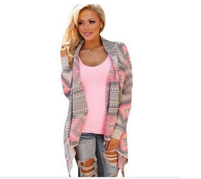 women   basic     jackets   coat 2018 new fashion irregular long-sleeved cardigan sexy sweater coats Women print Spring summer   jacket