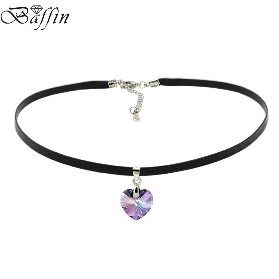 Baffin xilion heart pendant choker necklace crystals from swarovski elements rope chain collier for women 2017