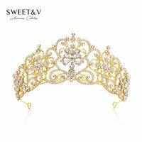 GÜMRÜKLEME SATıŞ Altın Kristal Taç Prenses Tiara Gelin Düğün Pageant Headpieces için Kadınlar Saç Takı Aksesuarları Festivali
