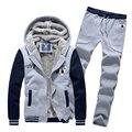 2016 boutique Espessamento dos homens de inverno quente lazer cardigan hoodies/Cor correspondente masculino ternos/hoodies + calças