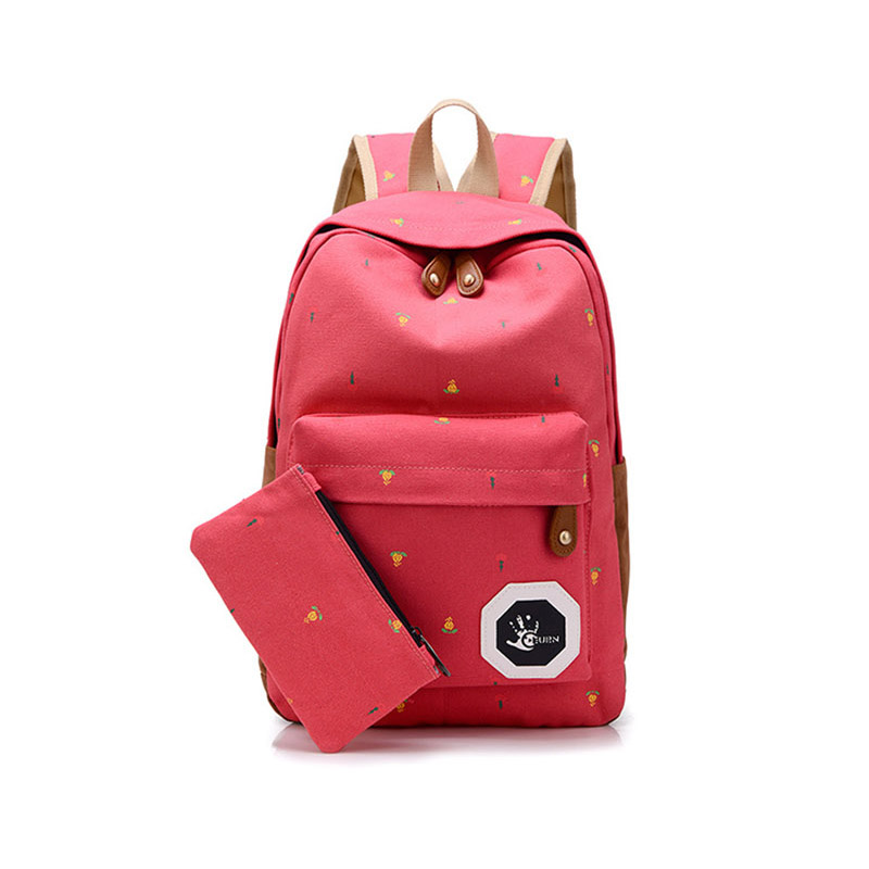 Popular Cute Korean Style Double Shoulder Book Bags Fashion Girls Women Canvas Dots Schoolbag