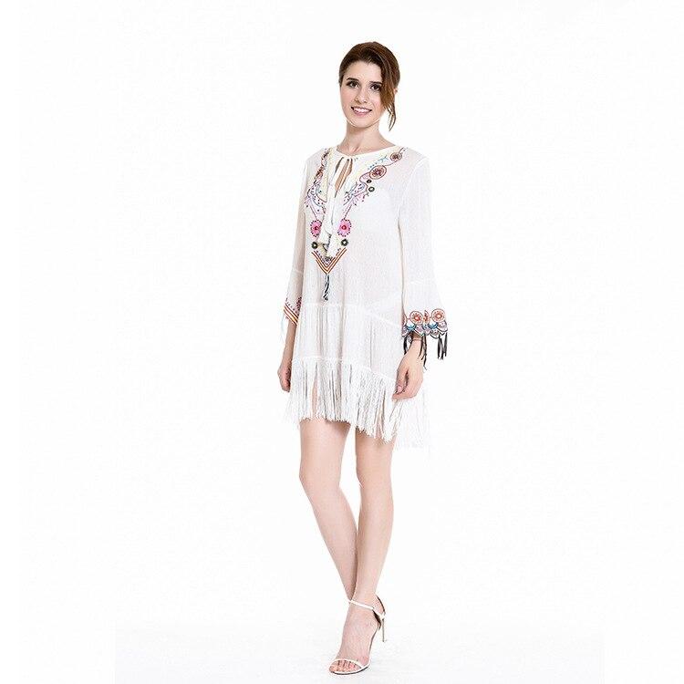 Del Abiti Nappe Di Gpysy Vestido Boho Autunno Femme Bohofree Floreale Stile  V Campana Manica Con Allentato Anche Ricamo Vestito ... b005f6775ae