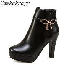 Женские ботинки Осень зима новый стиль модные полусапожки на