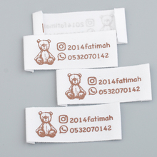 Label-Tags Screen-Printed Clothing-Tags/silk Customized-Design WHITE Natural Cotton One-Color